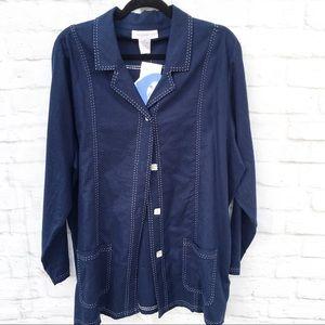 Susan Graver Stitching Detail Blue Linen Jacket XL